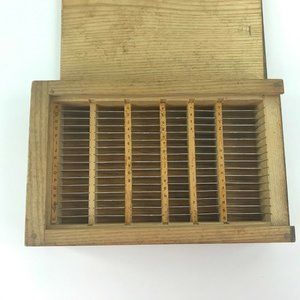 Wood Box Numbered Lettered Slots w Metal Dividers